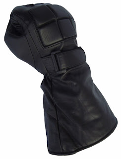 Black Granite Gauntlets: Black Leather Gauntlet Gloves from AbbyShot