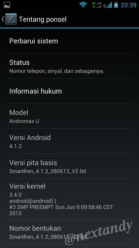 Selesai... Smartfren Andromax U dengan Android 4.1.2 Jelly Bean.