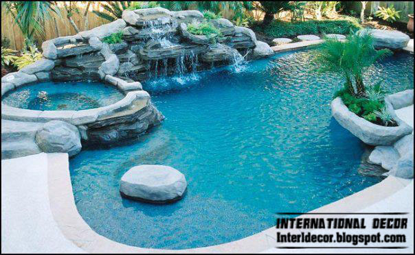 Swimming pool designs with waterfalls home decorating ideas for Outdoor pool decorating ideas