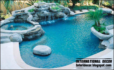 outdoor swimming pool design including waterfall and children's wadding 2015
