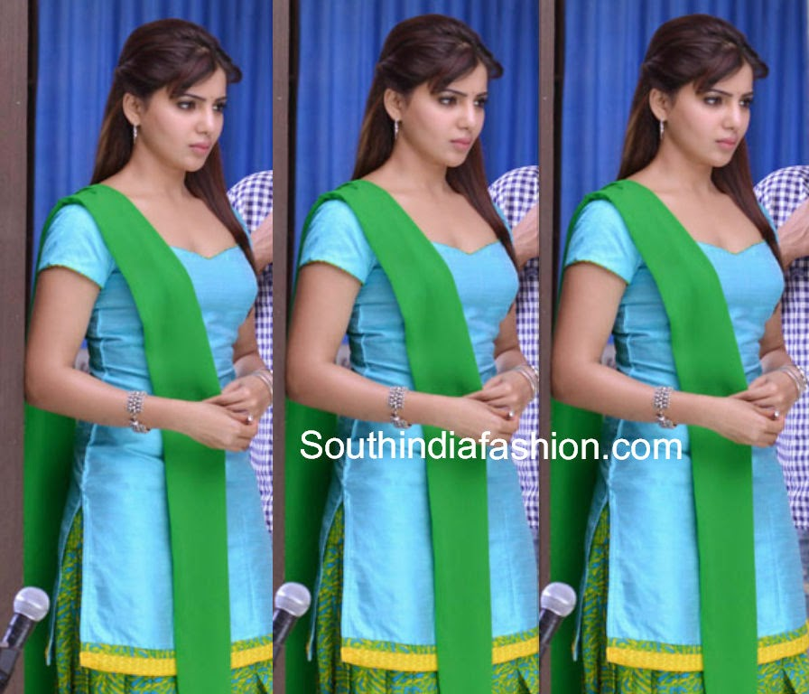samantha in patiala salwar from rabhasa movie