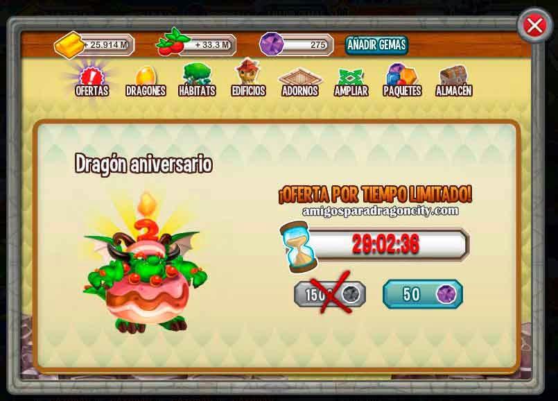 imagen de la oferta del dragon aniversario de dragon city