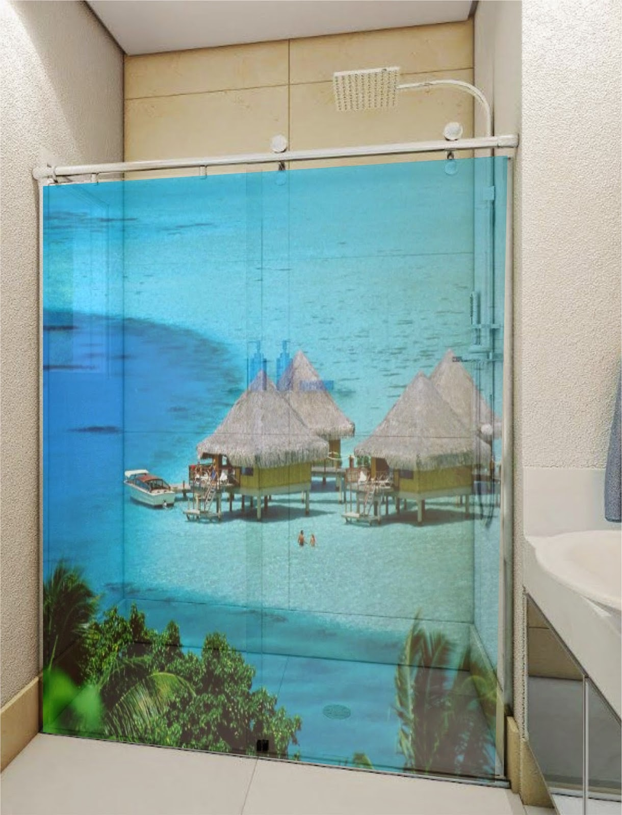 Imagens de #2988A2 GARAGE 75 ADESIVOS: Adesivo decorativo box banheiro/Jateado/ Bauru 1220x1600 px 2882 Box Banheiro Instalação