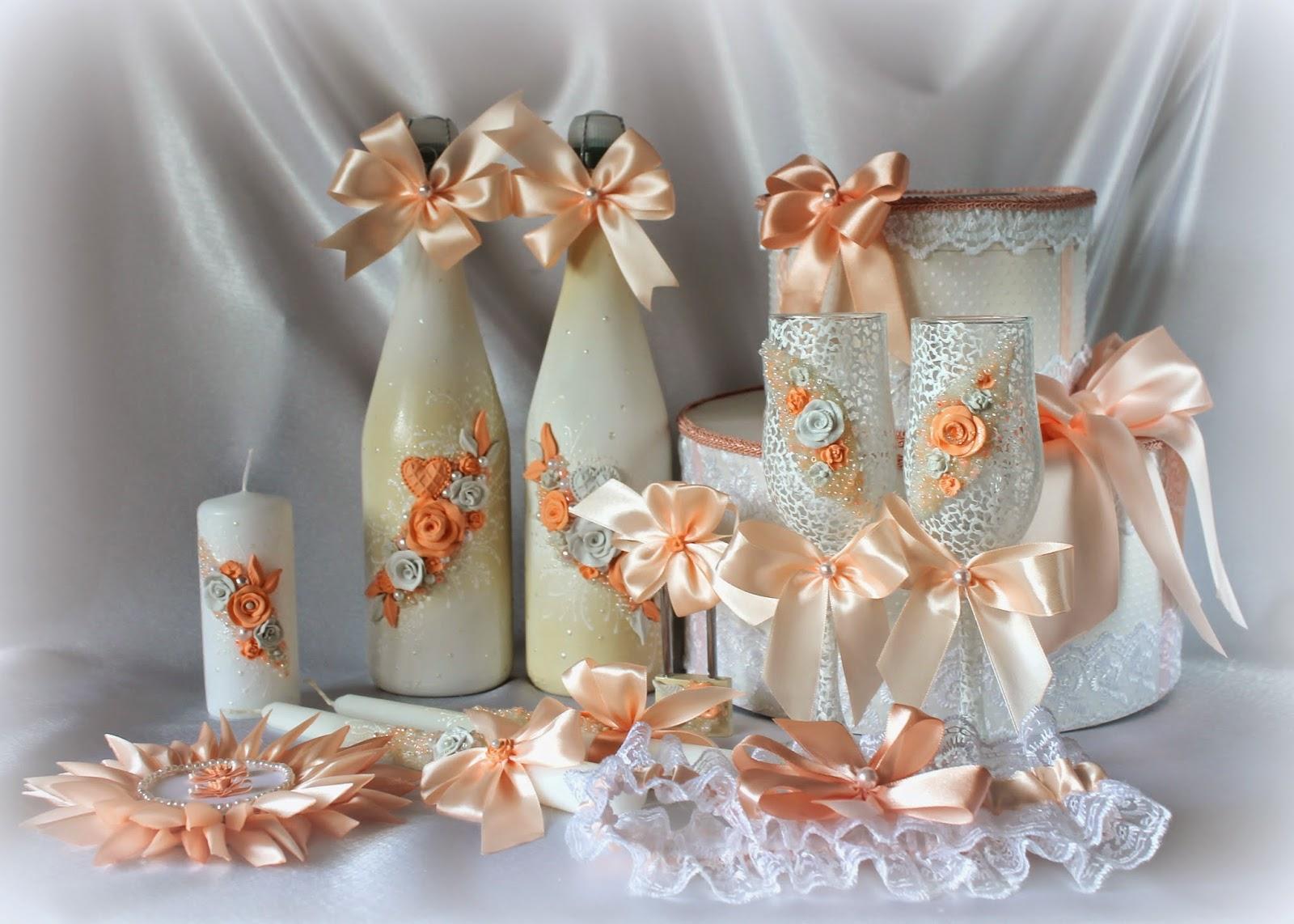 Свадебные аксессуары своими руками в персиковом цвете 33