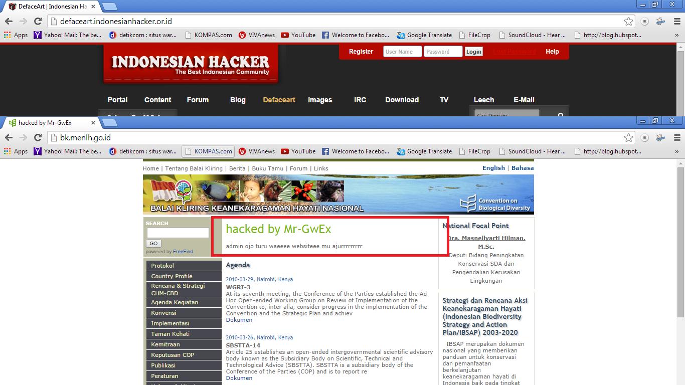 Web Kementrian lingkungan hidup di deface