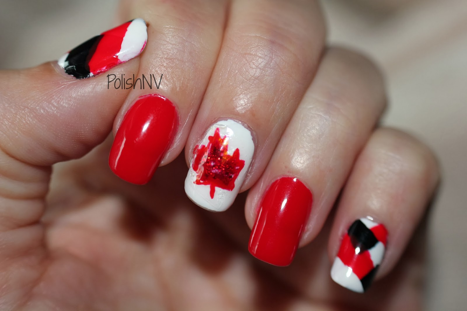 black, red, white nail art