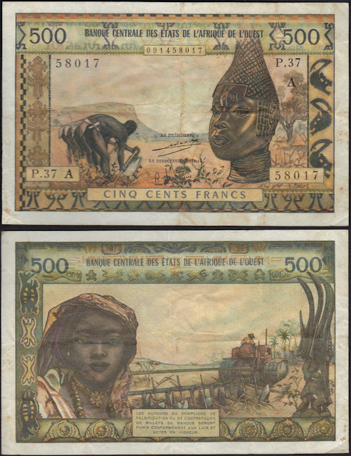 West African States 500 Francs P #102Ah - A for Ivory Coast