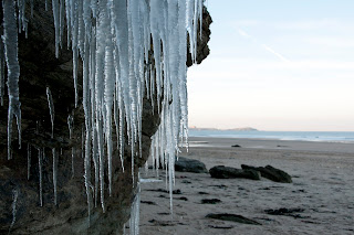 Icicles on the beach. Cornwall