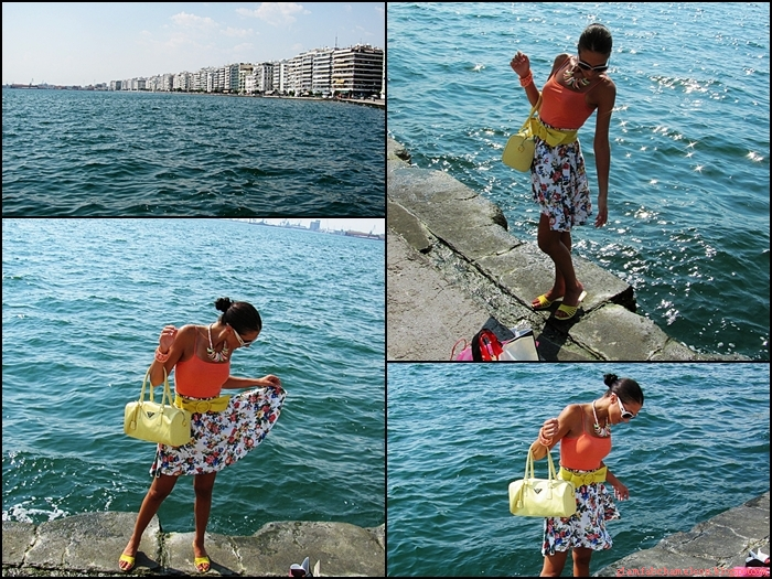 Shopping in Thessaloniki. Jelena Zivanovic, fashion & style blogger. Vitage floral skirt. Yellow bag and sandals. Beautiful summer outfit. Summer jewelry.