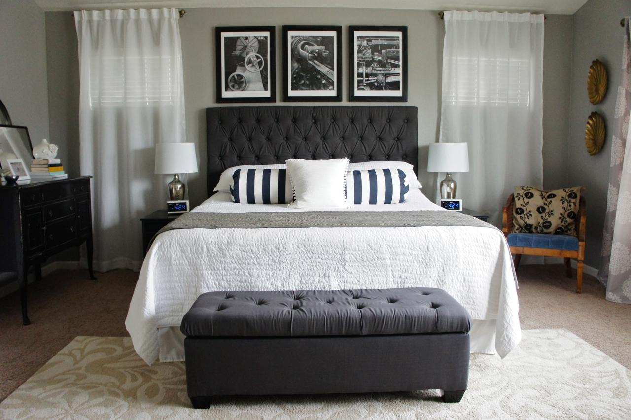 Pretty dubs master bedroom transformation for Bedroom ideas headboard