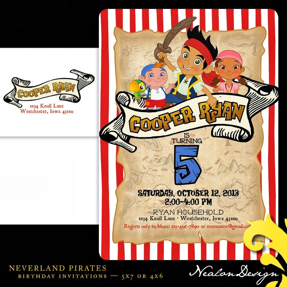 Nealon Design: Neverland Pirates BIRTHDAY Invitation
