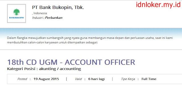 lowongan kerja ACCOUNT OFFICER bank bukopin agustus 2015