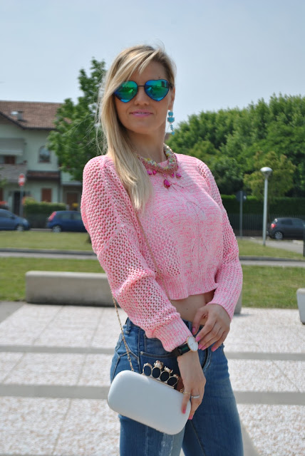 mariafelicia magno fashion blogger crop top come abinare il crop top borsa bianca come abbinare la borsa bianca how to wear white bag fashion bloggers italy colorblock by felym