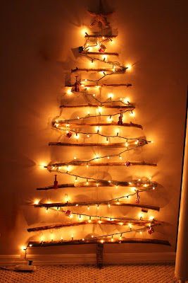 Christmas branch tree on the wall - Turtles and Tails blog