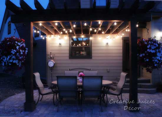 Creative juices decor adding string patio lights to the - How to use lights to decorate your patio ...