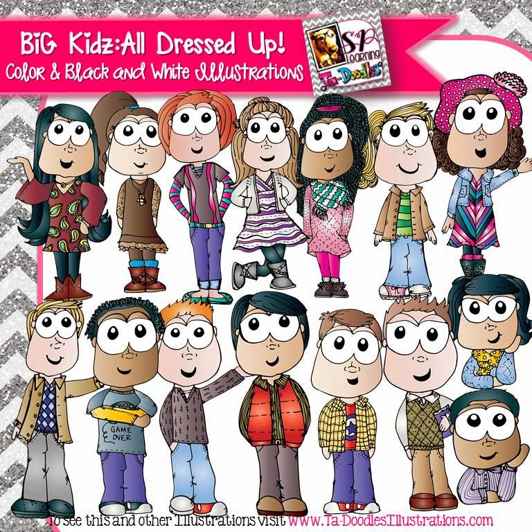 http://www.teacherspayteachers.com/Product/Big-Kids-All-Dressed-Up-Clip-Art-1584020