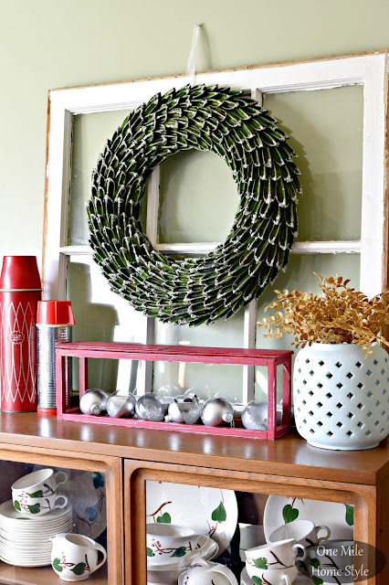 Vintage Window Christmas Decor with Red Thermoses | Christmas Home Tour - One Mile Home Style