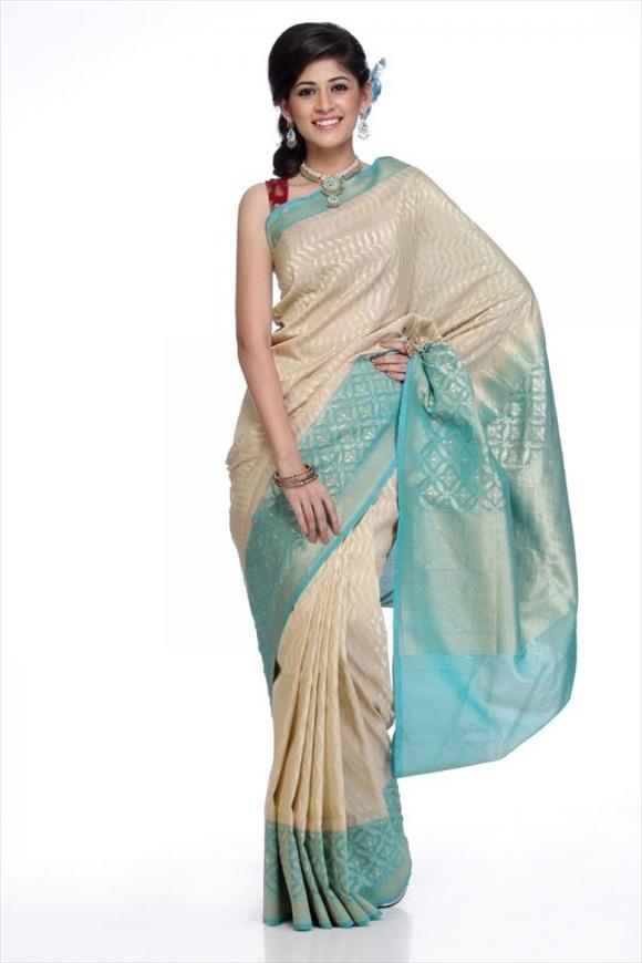 Cream Georgette Banarasi Saree