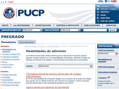 Resultados Primera Opción PUCP 2012
