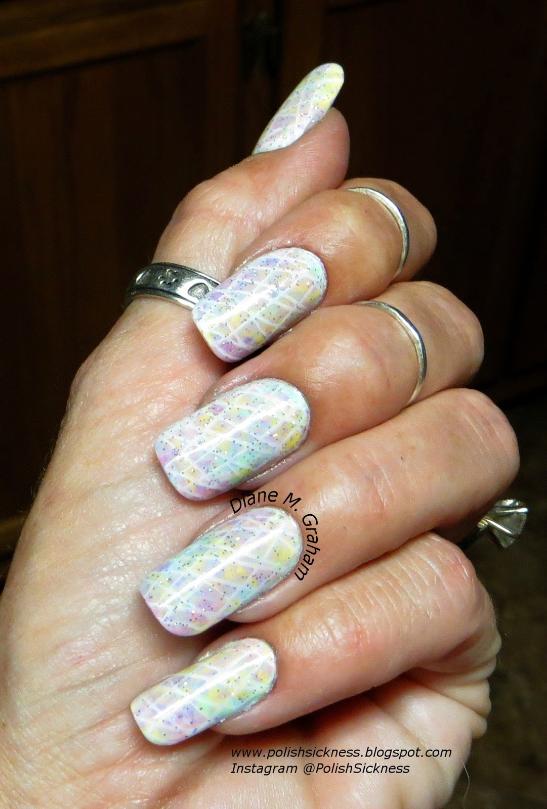 China Glaze Lemon Fizz, Highlight of the Summer, Essie Play Date, QRS Cruiser, Barielle Pink Quartz, Orly Shine on Crazy Diamond, DRK-A stamp