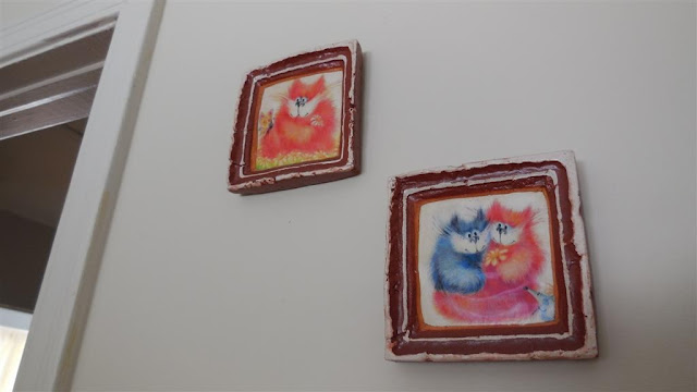 Ceramic pictures cats Ukrainian art