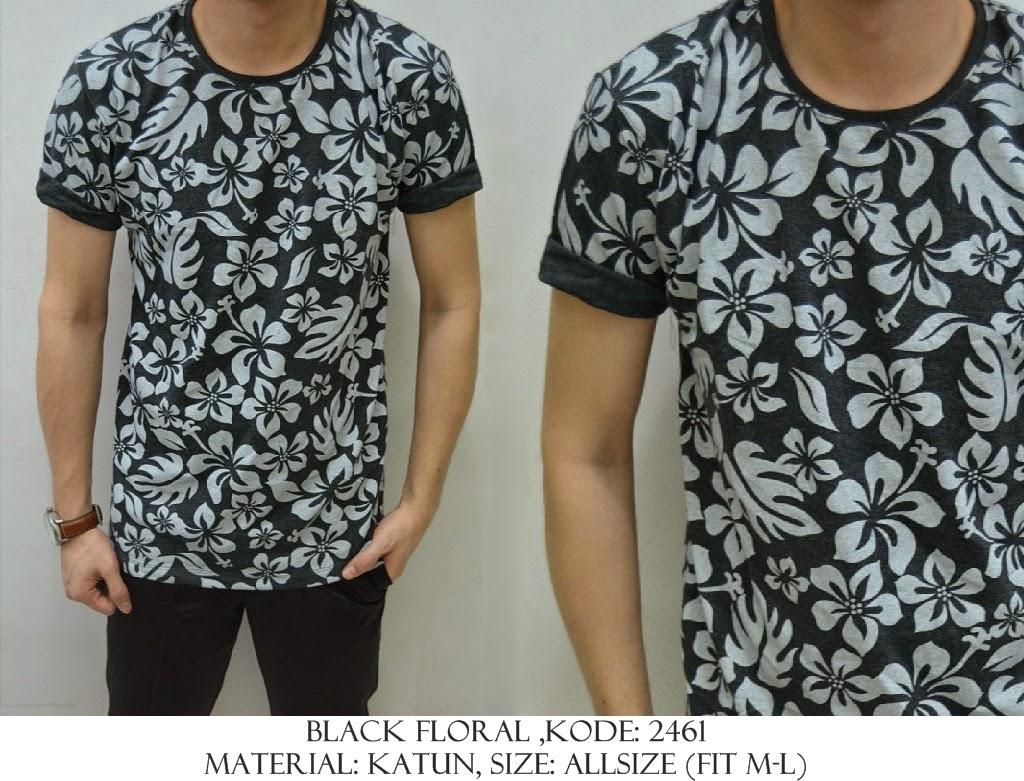 Baju Distro & Baju Kemeja Black Floral