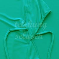 Telekung lycra hijau turquoise getah bahagian muka