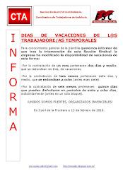 DIAS DE VACACIONES DE L@S TRABAJADORE/AS TEMPORALES