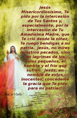 oracion por la patria hecha por santa faustina