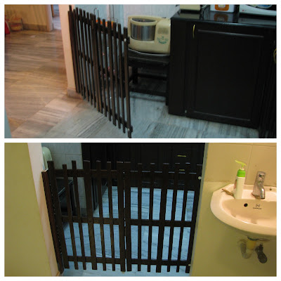 baby proofing the kitchen using child safe door barrier