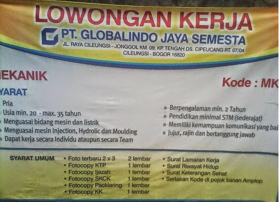 Lowongan Kerja PT. Globalindo Jaya Semesta Bogor