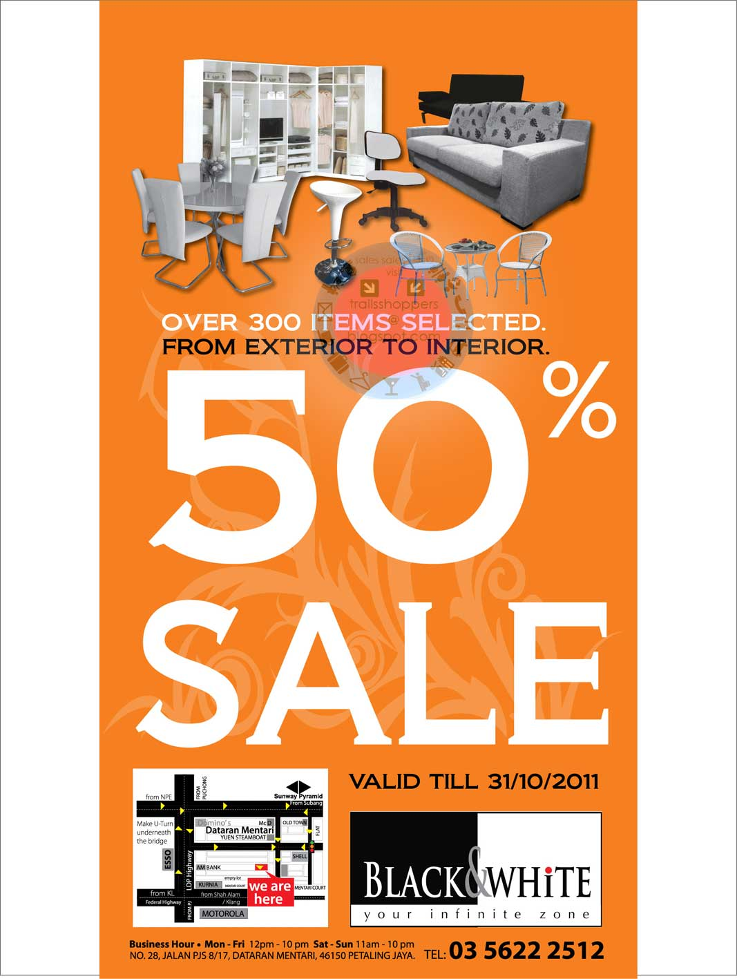 BLACK & WHITE FURNITURE Sale until 31 Oct 2011 | Trailsshoppers