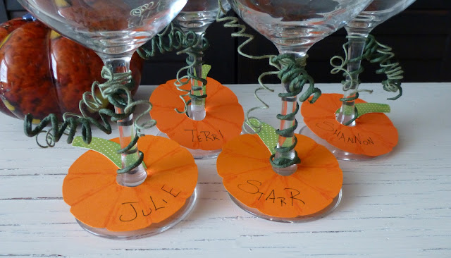 pumpkin name tags for wine glasses