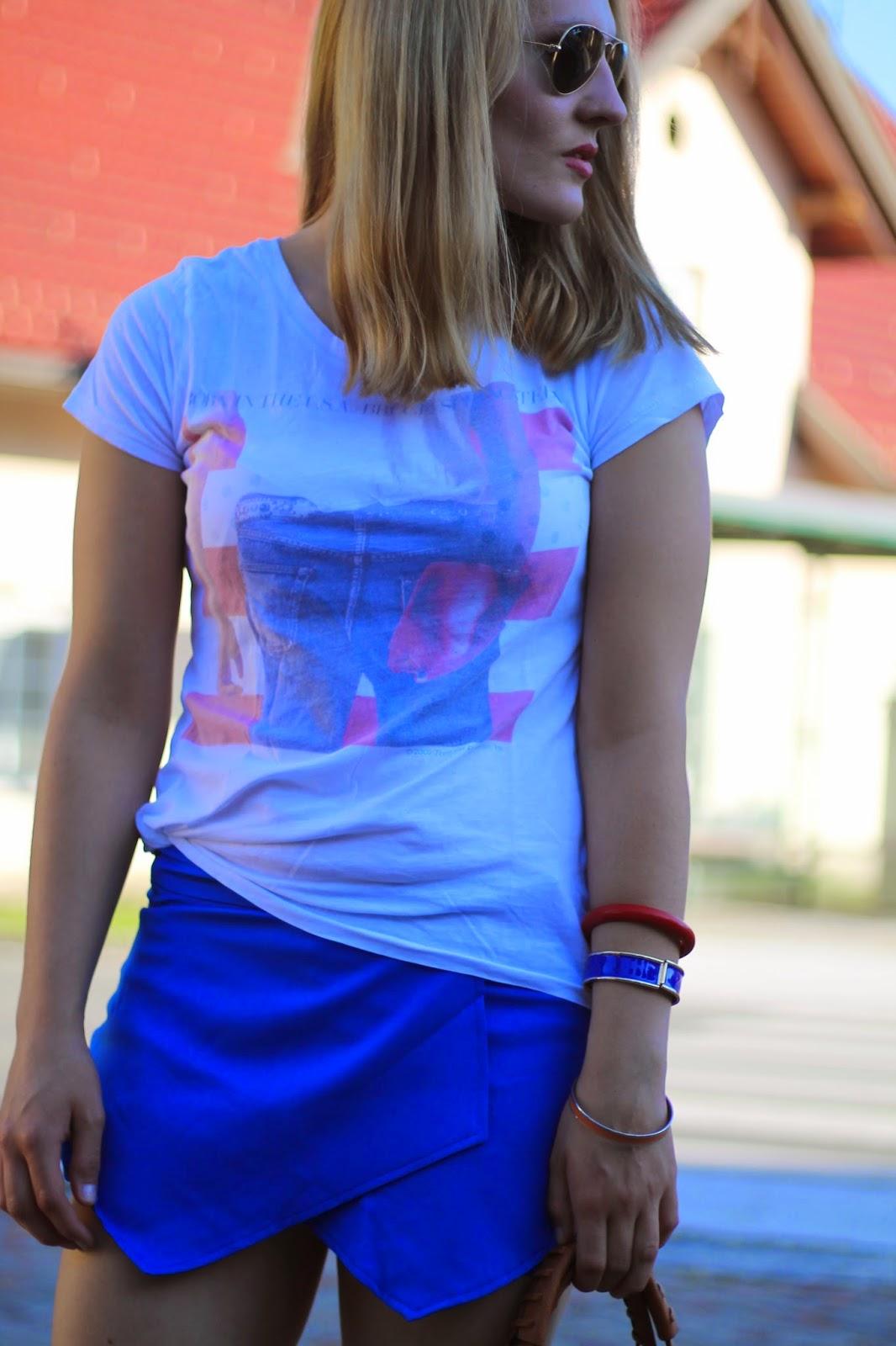 Fashionblogger Austria / Österreich / Deutsch / German / Kärnten / Carinthia / Klagenfurt / Köttmannsdorf / Spring Look / Classy / Edgy / Summer / Summer Style 2014 / Summer Look / Fashionista Look /   / Summer Look / Oasap / H&M / Zalando / Even and Odd / Forever 21 / Vero Moda / RAy Ban Aviator Sunglasses / Bruce Springsteen / Skorts / Band Shirt / Rockstar Shirt /