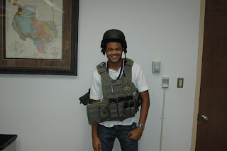 Student is ready to take on the world dressed as a U.S. Marshal.
