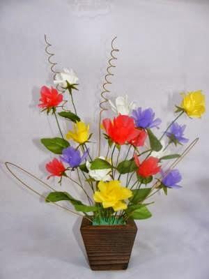 Cara Membuat Bunga Plastik dari Kertas Krep
