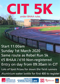 New 5k in Cork City - Sun 1st Mar 2020