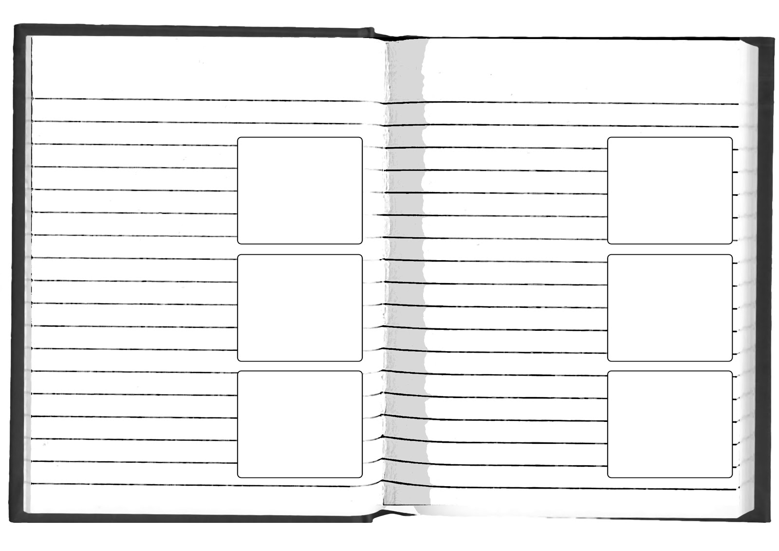 blank diary page template with four blank pages