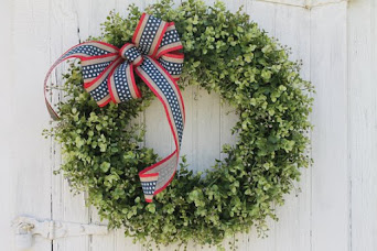 Patriotic Boxwood Wreath