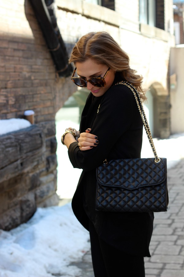 rebecca minkoff quilted affair bag in black