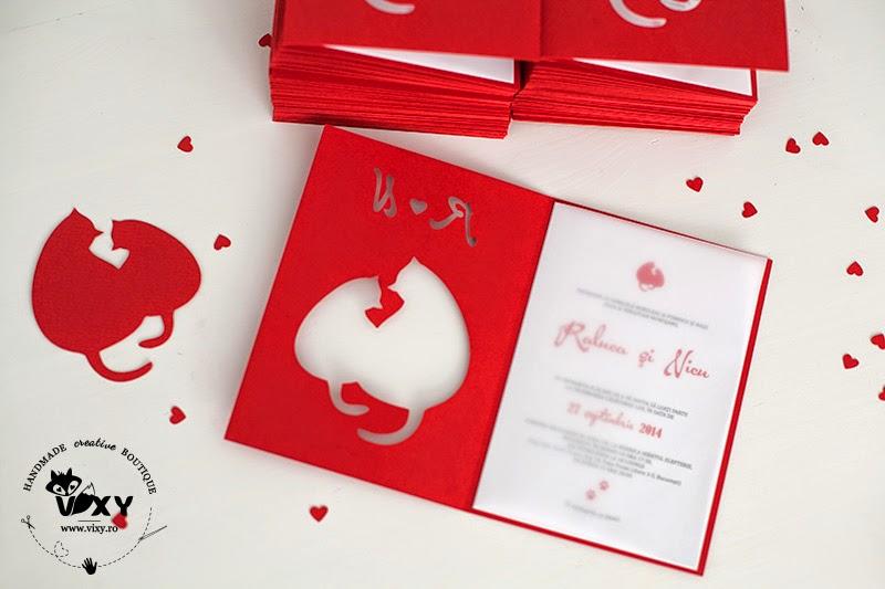 invitatii nunta, invitatie pisici, vixy.ro, invitatii handmade personalizate, invitatii personalizate, pisici grase