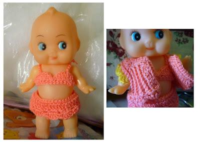 Crochet Kewpie Doll Cupie Doll Clothes 5 inches doll pattern new bikini