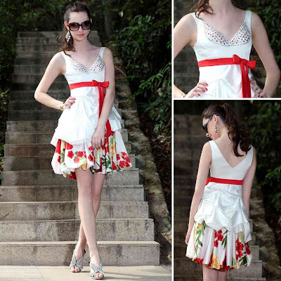 Print White V-Neck Knee Length Dress