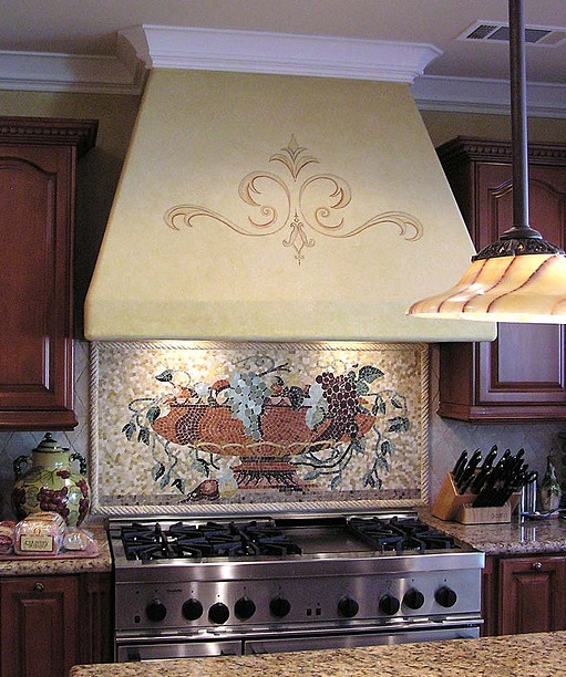 Beautiful kitchen pinterest murals tile ideas and for Tuscan style kitchen backsplash