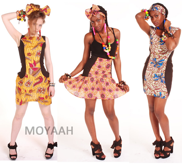 yellow african print dress blue african print pleated dress pink african print skirt moyaah