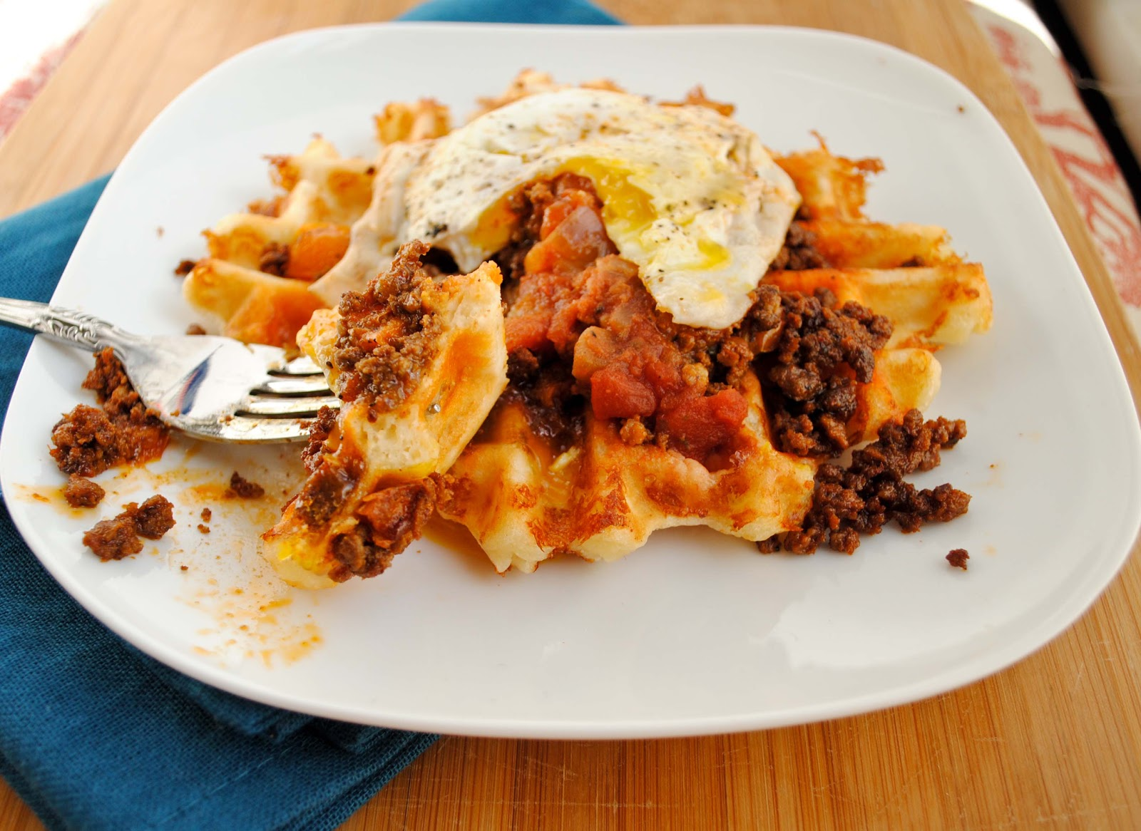 Savory Cheese Waffles with Chorizo and Fried Egg | Neighborfood