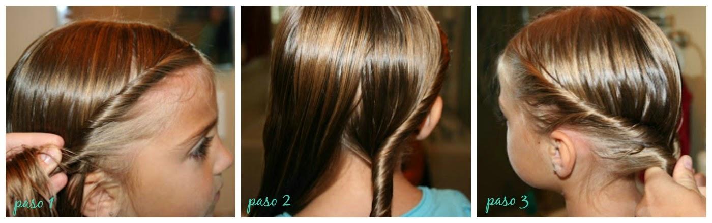 Peinados niña faciles - cola de caballo enrollada