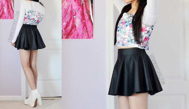 Romwe's pop art 2-piece crop top and skirt set can be worn together or apart as matching separates; here, I'm wearing the silver suspender crop top with a leather skater skirt, white long sleeve T-shirt, and white spiked platform booties.