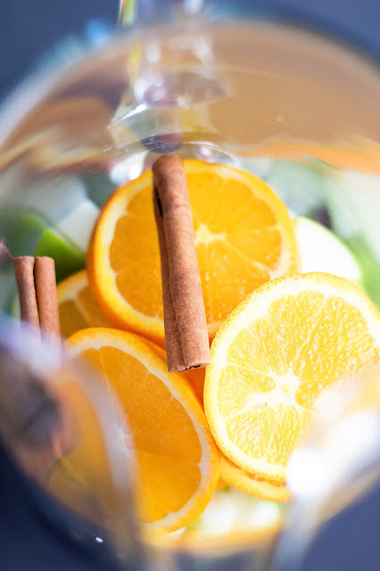 The fresh fruit for the Simple Sangria in the pitcher.