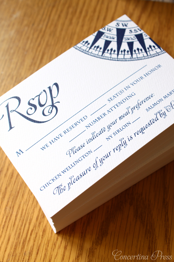 Nautical Compass RSVP with number attending wording - part of a set from Concertina Press